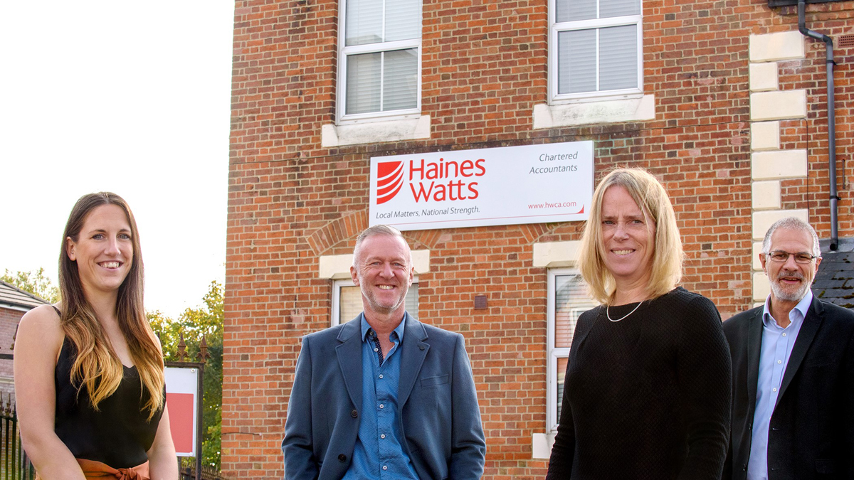 Haines Watts' managing partner Mike Lloyd, far right, with tax partner Martin Gurney (back, left), not for profit specialist and partner Sue Plumb (front right) and associate director Emma Skinner (front left)