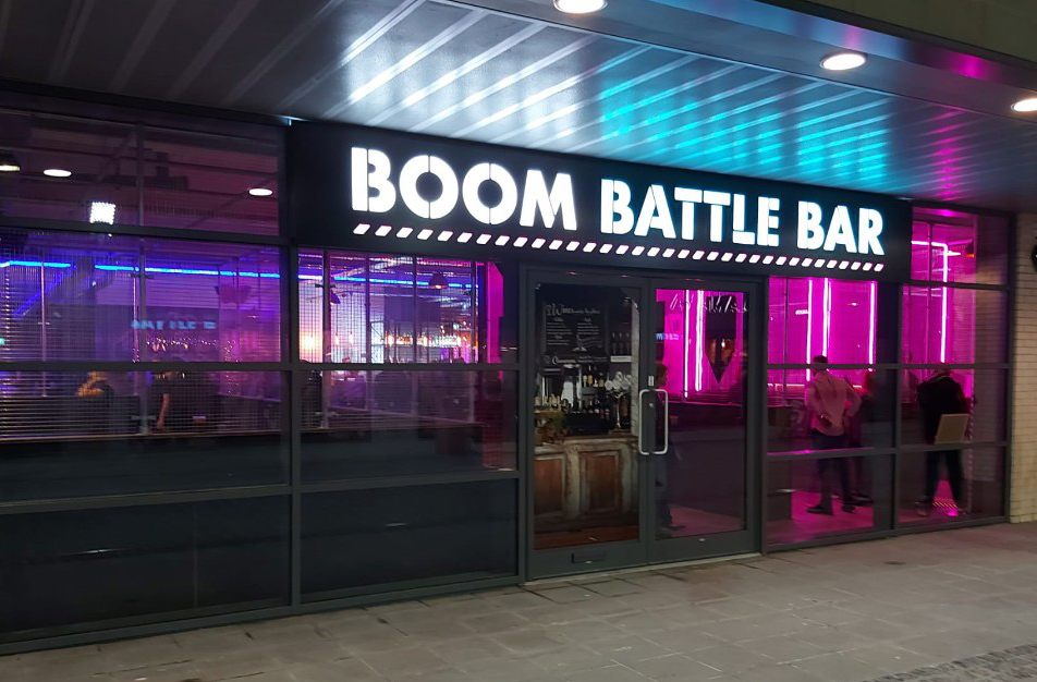 Swindon's £50 million retail and leisure hub Regent Circus is bouncing back with the opening of the 15,000 sq ft Boom: Battle Bar