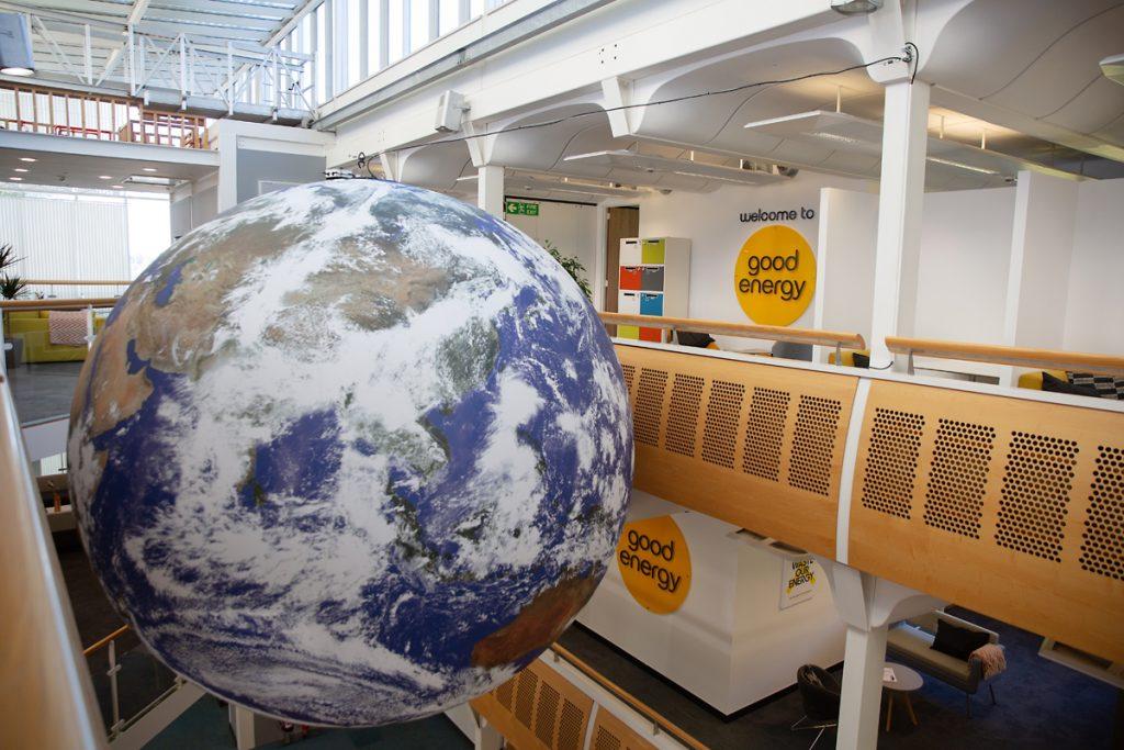Luke Jerram's Gaia has been installed at the Chippenham HQ of Good Energy